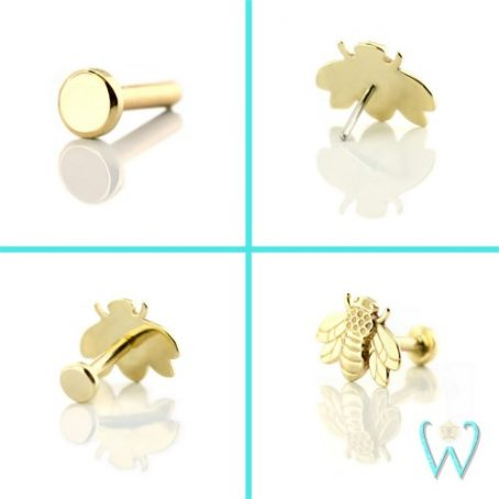 Wish and Whim Jewelry, 14KY 18g 2.5mm Disk Labret with 14KY Bee Threadless End, Cartilage Earrings, Flat Back Earrings, Quad View