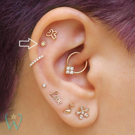 Wish and Whim Jewelry, 14KY Diamond Bali Beads, 3.5mm, Curated Ear 1