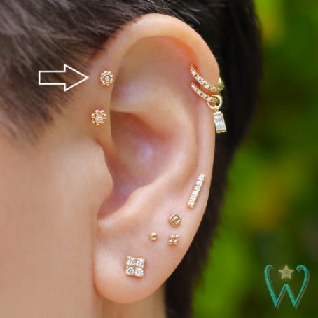 Wish and Whim Jewelry, 14KY Diamond Bali Beads, 3.5mm, Curated Ear 2