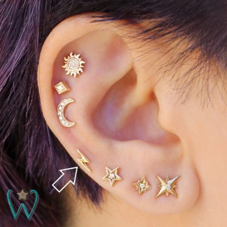 Wish and Whim Jewelry, 14KY Lightning Bolt Stud Earring, Curated Ear 1