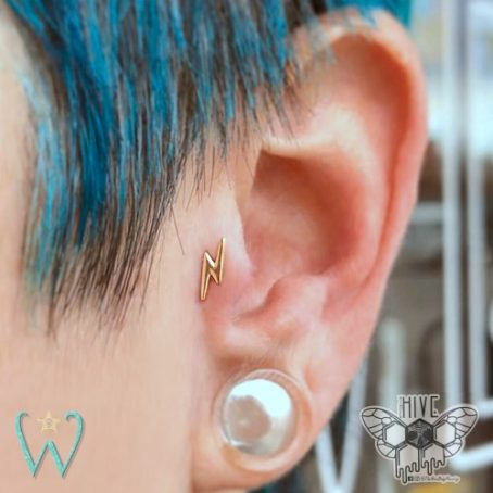 Wish and Whim Jewelry, 14KY Lightning Bolt Stud Earring, Curated Ear 2