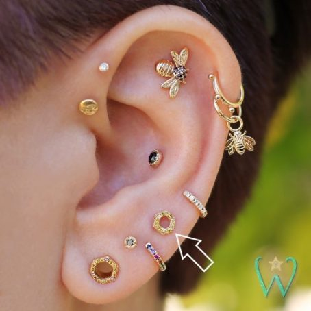 Wish and Whim Jewelry, 14KY Yellow Diamond Honeycomb Stud Earring, Curated Ear