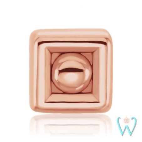 Wish and Whim Jewelry, 14K Rose Gold 2.5mm Square Dot Stud Earring