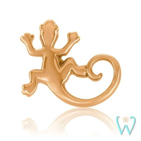 Wish and Whim Jewelry, 14K Rose Gold 8mm Gecko Stud Earring