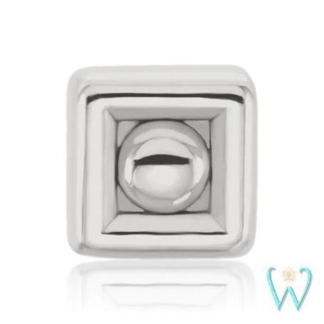 Wish and Whim Jewelry, 14K White Gold 2.5mm Square Dot Stud Earring