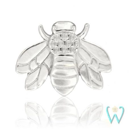Wish and Whim Jewelry, 14K White Gold Bee Stud Earring