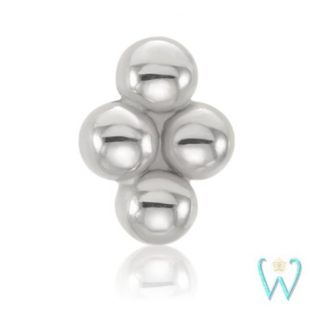 Wish and Whim Jewelry, 14K White Gold Quad Bead Stud Earring