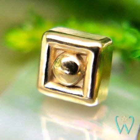 Wish and Whim Jewelry, 14KY 2.5mm Square Dot Stud Earring, Snap Back Earrings, Cartilage Earrings, Flat Back Earrings, Threadless Earrings
