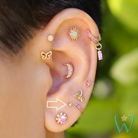 Wish and Whim Jewelry, 14KY 2mm Ball Stud Earring, Curated Ear 1