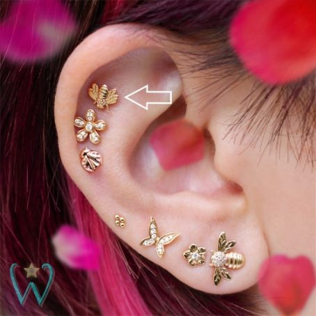 Wish and Whim Jewelry, 14KY Bee Stud Earring, Curated Ear 2