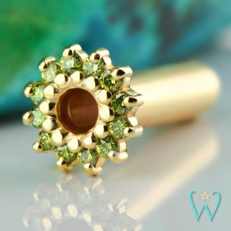 Wish and Whim Jewelry, 14KY Green Diamond Ear Tunnel, 3mm (8g)