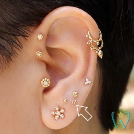 Wish and Whim Jewelry, 14KY Quad Bead Stud Earring, Curated Ear 2