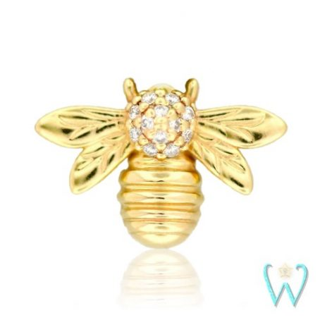 Wish and Whim Jewelry, 14KY Pave Diamond Bee Stud Earring
