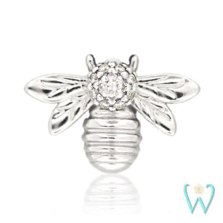 Wish and Whim Jewelry, 14KW Pave Diamond Bee Stud Earring