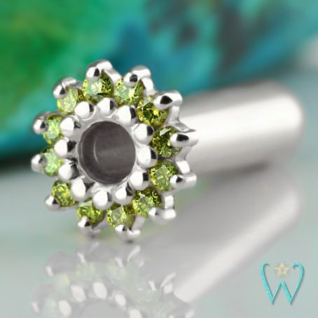 Wish and Whim Jewelry, 14KW Green Diamond Ear Tunnel, 3mm (8g)