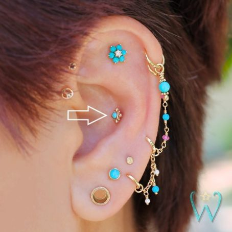 Wish and Whim Jewelry, 14KY 2mm Turquoise Beaded, on Ear 2