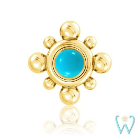 Wish and Whim Jewelry, 14KY Beaded Turquoise Stud