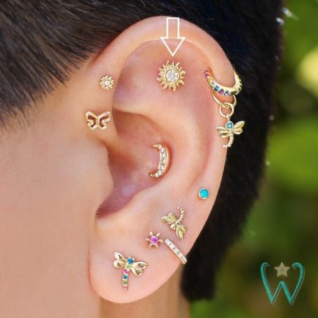 Wish and Whim Jewelry, 14KY Pave Diamond Sun Stud Earring, on Ear 1