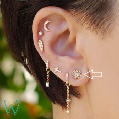 Wish and Whim Jewelry, 14KY Pave Diamond Sun Stud Earring, on Ear 2