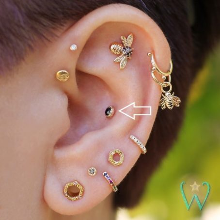Wish and Whim Jewelry, 14KY Rose Cut Black Diamond, on Ear 2