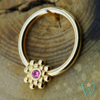 Pink Sapphire Double Bali Bead Ring