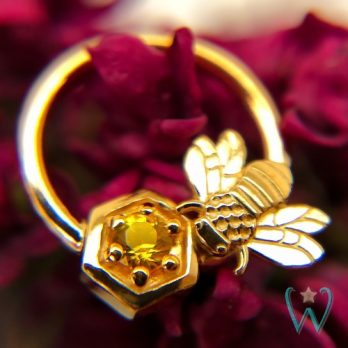 Bee with Honeycomb Ring