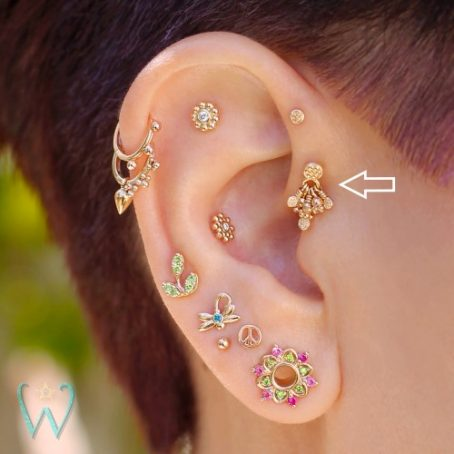 Wish and Whim Jewelry, 14KY Beaded Chandelier Stud Earring, on Ear 1