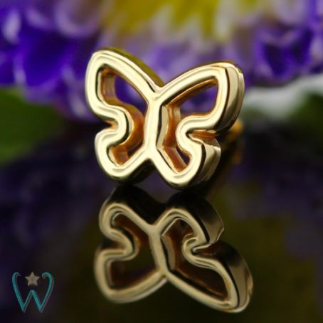 Wish and Whim Jewelry, 14KY Butterfly Stud Earring