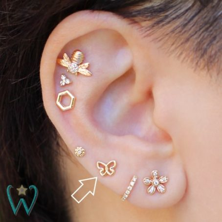 Wish and Whim Jewelry, 14KY Butterfly Stud, on Ear 2