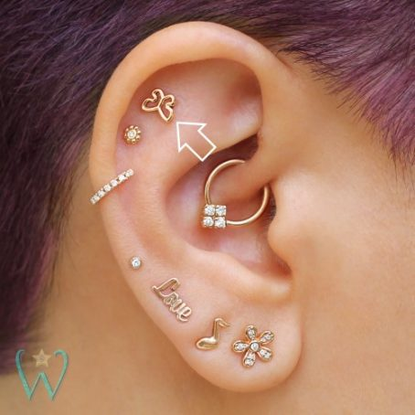 Wish and Whim Jewelry, 14KY Butterfly Stud, on Ear 3