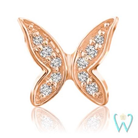 Wish and Whim Jewelry, 14KR Diamond Butterfly Stud Earring