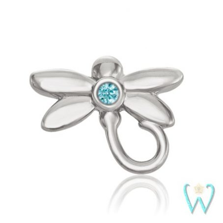 Wish and Whim Jewelry, 14KW Blue Diamond Dragonfly Stud Earring