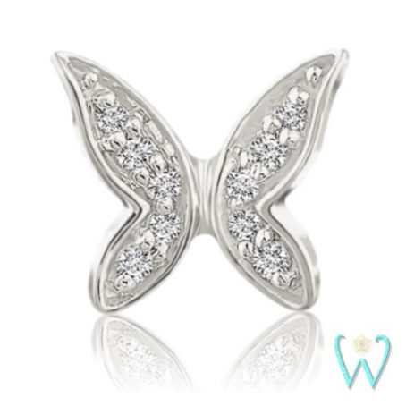 Wish and Whim Jewelry, 14KW Diamond Butterfly Stud Earring