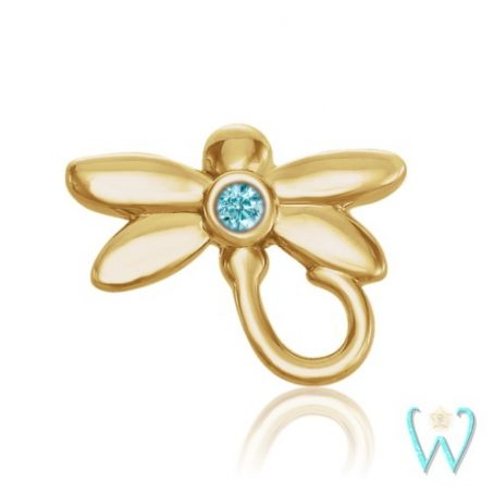 Wish and Whim Jewelry, 14KY Blue Diamond Dragonfly Stud Earring