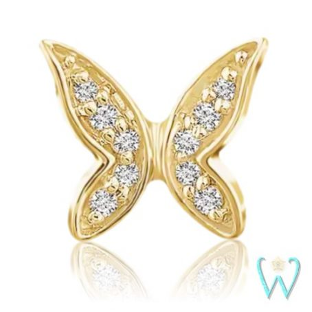 Wish and Whim Jewelry, 14KY Diamond Butterfly Stud Earring