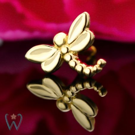 Wish and Whim Jewelry, 14KY Dragonfly Stud Earring