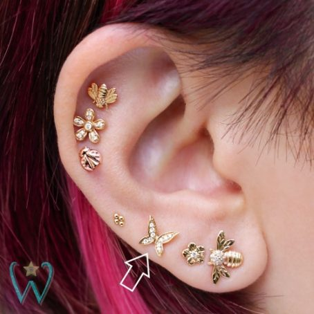 Wish and Whim Jewelry, 14KY Pave Diamond Butterfly, on Ear