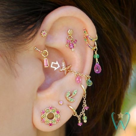 Wish and Whim Jewelry, 14KY Pave Diamond Butterfly, on Ear 2