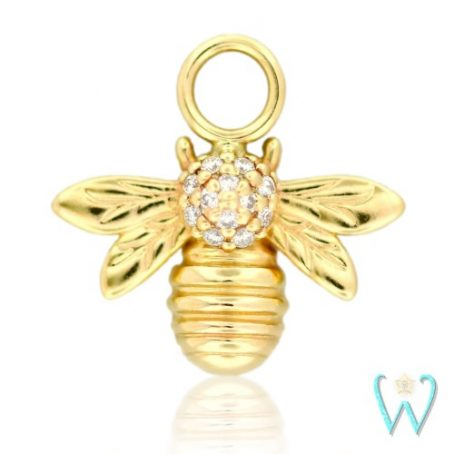 Wish and Whim Jewelry, 14KY Pave Diamond Bee Earring Charm