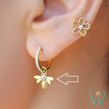 Wish and Whim Jewelry, 14KY Pave Diamond Bee Earring Charm, on Ear