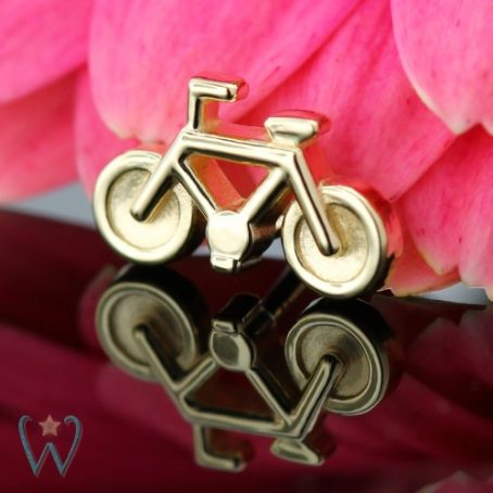 Wish and Whim Jewelry, 14KY Bicycle Stud Earring 1