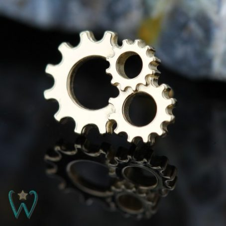 Wish and Whim Jewelry, 14KY Steampunk Gears Stud Earrings 1
